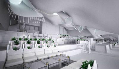 Pièce principale & mini jardin intérieur 3D - Casa-del-Ancantilado par Gilbartolome Architects - Salobrena, Espagne