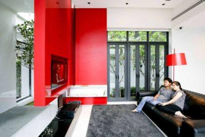 Salon & écran TV - chokchai-4-house par Archimontage Design - Bangkok, Thailande