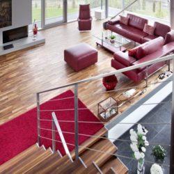 Salon & escalier bois - High-Tech-Modern-Home par Eppler Buhler, Allemagne