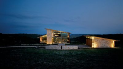 Vue d'ensemble illuminé - Glass-House par Jim Gewinner Texas, USA