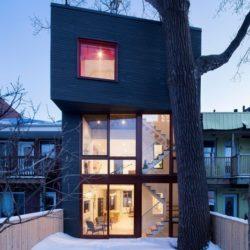 Vue d'ensemble illuminée - Residence Hotel-de-Ville par Architecture Microclimat - Montreal - Canada