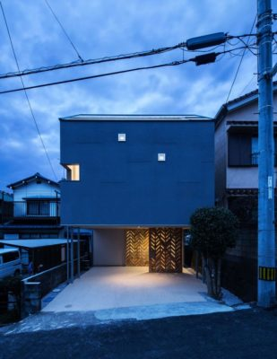 Vue d'ensemble nuit - Twin-House par Masahiro Miyake - Kochi, Japon