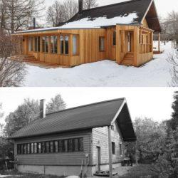 Extension bois pour une maison de campagne en russie for Amiante maison ancienne