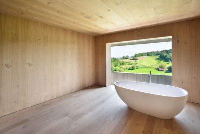 Baignoire pièce en bois - House-Lendenmann par L3P Architekten - Regensberg, Suisse