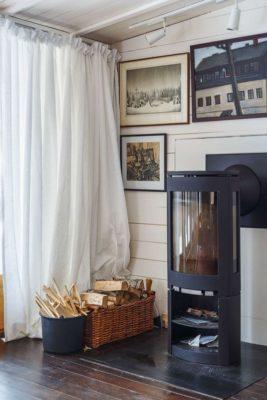 Cheminée bois salon - House-Tarusa par Project905 - Tarusa, Russie