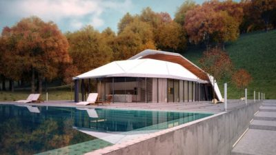 Façade terrasse & piscine - Shell-House par Lenz Architects - Almaty, Kazakhstan