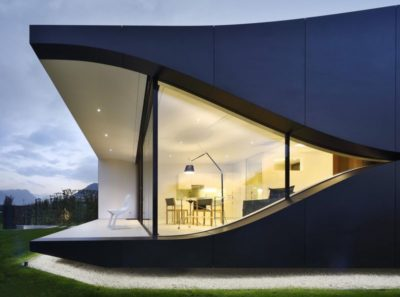 Façade terrasse & vue salon - Mirror-Houses par Peter Pichler - Bolzano, Italie