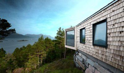 Ouvertures vitrées & vue paysage - Cabin-Straumsnes par Rever Og Drage Arkitekter - Tingvollvagen, Norvege