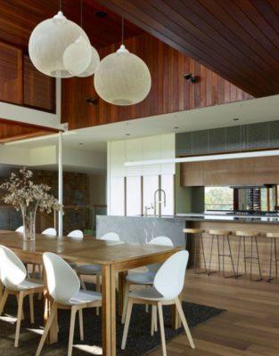 Salle séjour & îlot central de cuisine - Home-Overlooks par Shaun Lockyer Architects - Queensland, Australie