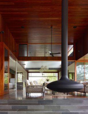 Salon & cheminée suspendue - Home-Overlooks par Shaun Lockyer Architects - Queensland, Australie