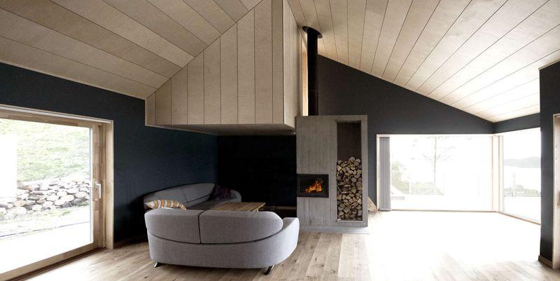 Salon & chemionée - Cabin-Straumsnes par Rever Og Drage Arkitekter - Tingvollvagen, Norvege