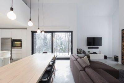 Salon & salle séjour - Villa-Boreale par Cargo Architecture - Charlevoix, Quebec