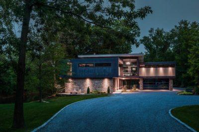 Voie privée accès nuit - Cunius Residence par Paul Macht - Etats-Unis