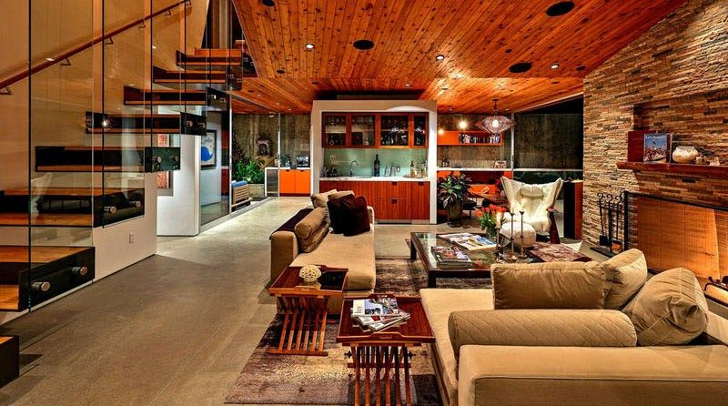 Piece de vie - Wood-Clad-Home par Space International - Los Angeles, Etats-Unis