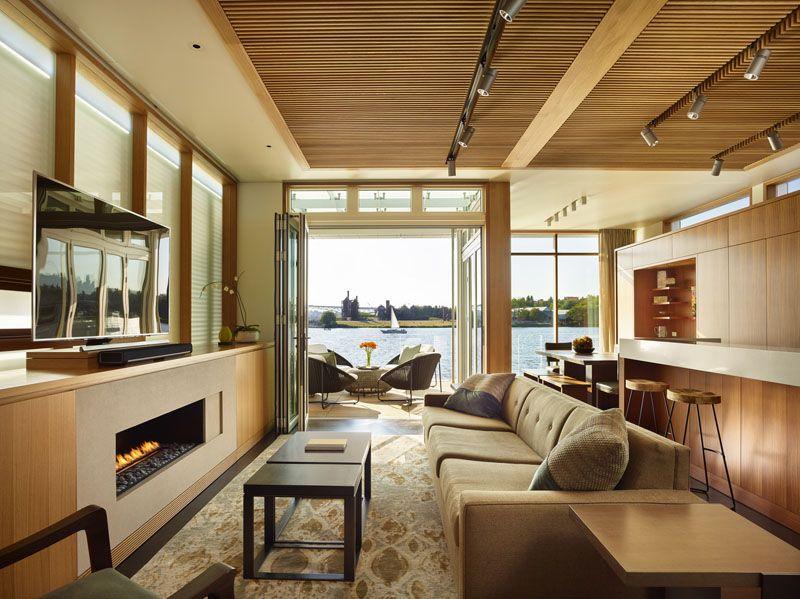 Salon & écran TV - Floating-Home par Vandeventer-Carlander - Seattle, USA