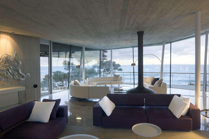 Vaste salon & vue panoramique mer - Summer-Residence par Fuses Viader Architects - Calonge, Espagne